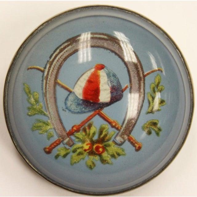 "Red & Blue ""Jockey Cap"" Brass Harness Buttons - A Pair - Image 4 of 5"