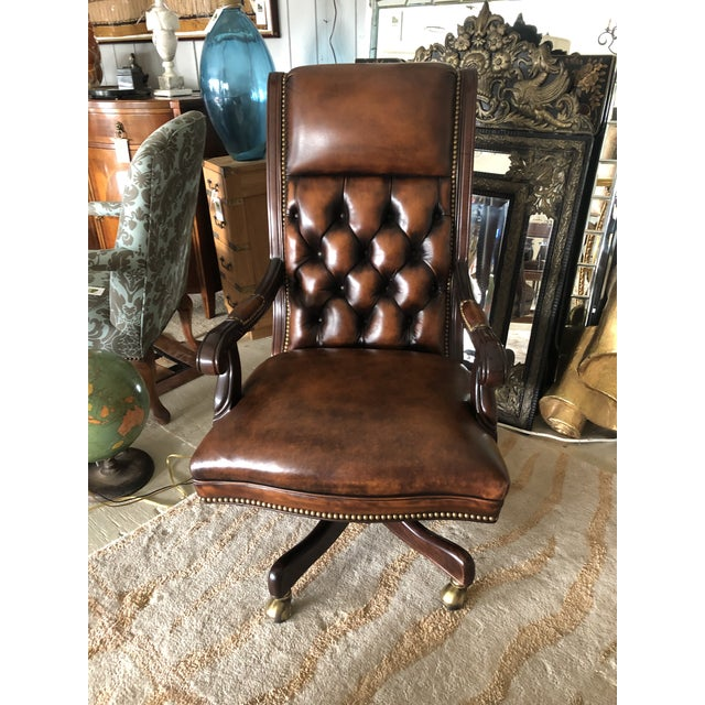 Tufted Swivel Leather and Wood Desk Chair For Sale - Image 12 of 12