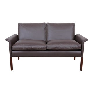 Hans Olsen Danish Modern Rosewood and Leather Settee, Fully Restored For Sale