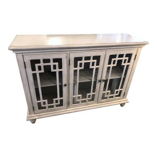 Classic Home White Sideboard With 3 Glass Panel Doors For Sale