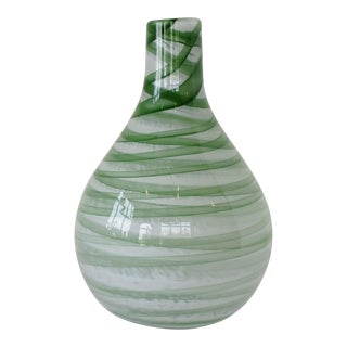 Green Ribbons Glass Vase For Sale
