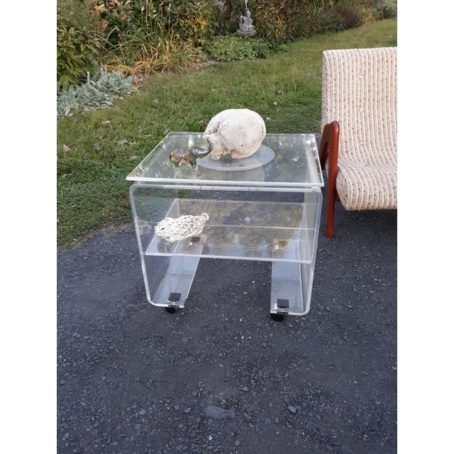 Transparent 1970's Vintage Lucite Bar Cart For Sale - Image 8 of 11