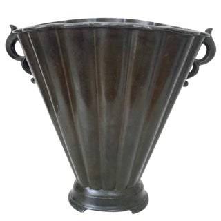 Just Andersen Fluted Disko Metal Vase For Sale