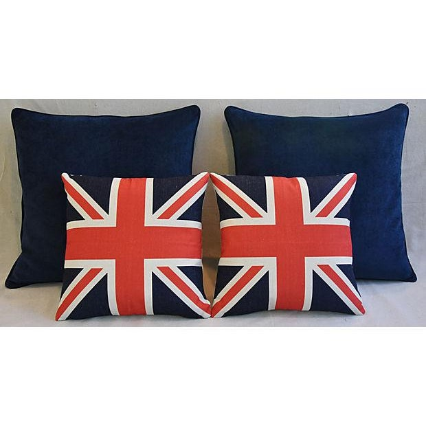 Fabric Custom Tailored Blue Velvet & Union Jack Flag Feather/Down Pillows - Set of 4 For Sale - Image 7 of 9