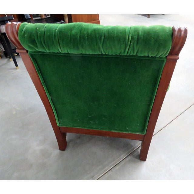 Renaissance Style Green Velvet Upholstered Winged Griffin Chair For Sale In Philadelphia - Image 6 of 8