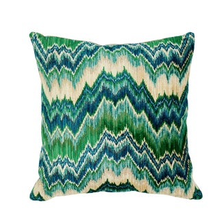 Schumacher Bezique Flamestitch Velvet Pillow in Blue & Green For Sale