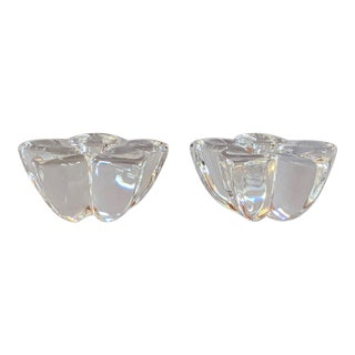 Orrefors Flower Petal Candle Holders - a Pair For Sale