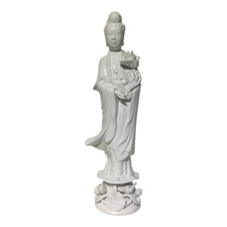 Vintage Kwan Yin White Porcelain Chinese Figurine For Sale