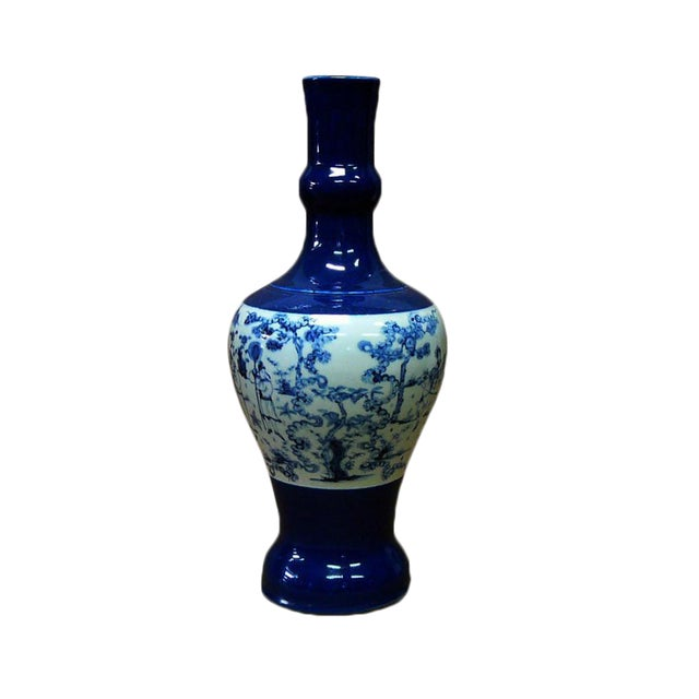 Chinese Porcelain Scenery Painted Blue Vase For Sale