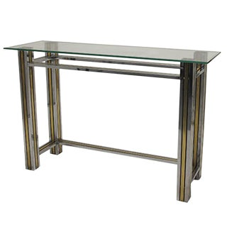 Brass and Chrome Column Leg Console For Sale