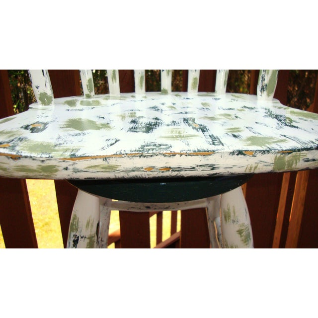 Country Cottage Hand Painted Distressed Bar Stool - Image 9 of 11