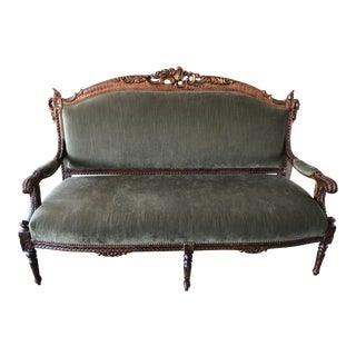 Sage Green Strie Velvet Louis XV Settee For Sale