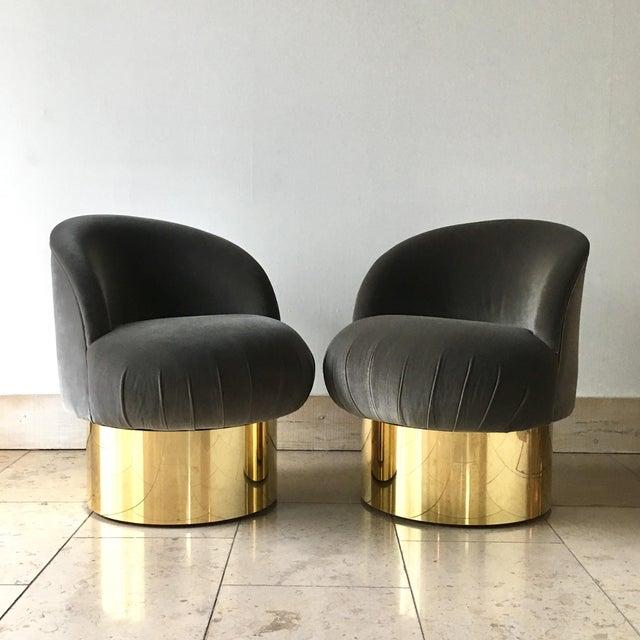 Pair of Brass Based Grey Velvet Tub Upholstered Swivel Chairs For Sale - Image 6 of 6