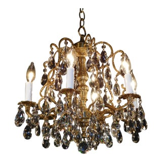 Vintage French 6 Arm 6 Lite Brass Bronze Cut Lead Crystal Birdcage Chandelier For Sale