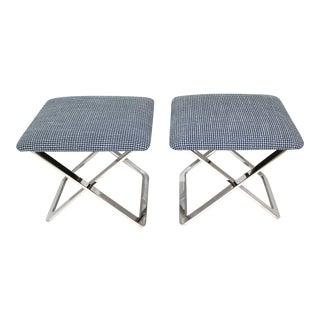 Mid-Century Modern Milo Baughman Attributed X-Stools - a Pair For Sale