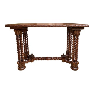 19th Century French Carved Oak Barley Twist Lamp Side Sofa Table For Sale