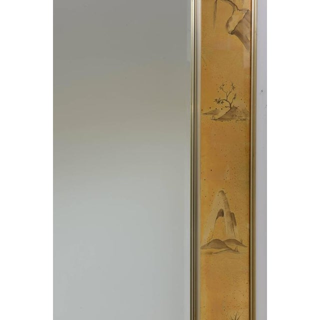 La Barge Mirror With Eglomise Style Panels Depicting Chinoiserie Scenes in Gold For Sale - Image 9 of 10