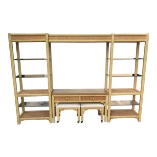 1970's Vintage Henry Link Wicker Wall Unit For Sale