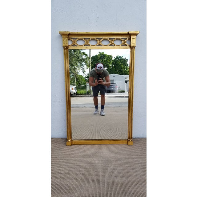 1970s Hollywood Regency John Widdicomb Gold Carved Wood Wall Mirror For Sale - Image 11 of 11