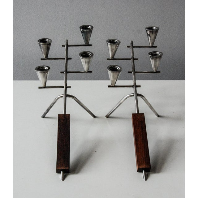 1960s 1960 Carl Christiansen Silverplate and Rosewood Candleholders Denmark - Pair For Sale - Image 5 of 11