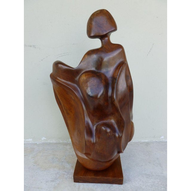 Mid-Century Modern 1970s Mid Century Modern Biomorphic Burl Wood Sculpture of Madonna and Child For Sale - Image 3 of 12