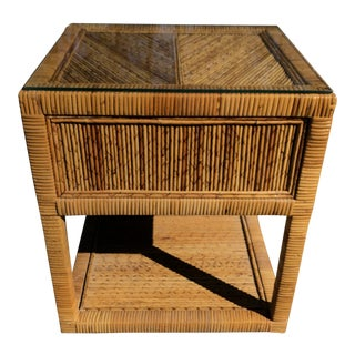 1970s Boho Chic Pencil Reed Bamboo Glass Topped Nightstand For Sale