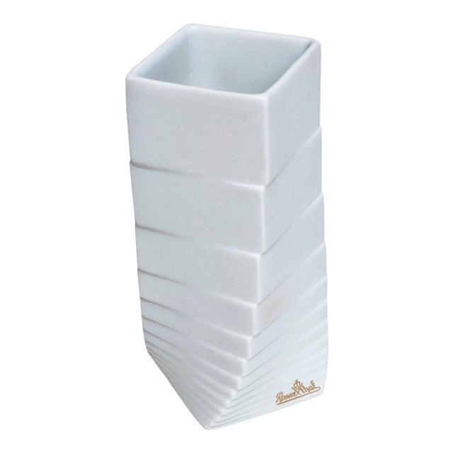 1970s Mid-Century Modern Hausler-Goltz for Rosenthal White Ceramic Vase For Sale