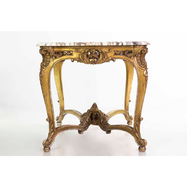 19th Century French Louis XV Style Giltwood Center Table circa 1870 For Sale - Image 5 of 11