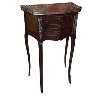 Louis XV Style Inlaid Mahogany and Burl Wood Side Table, Late 19th Century For Sale
