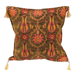 Turkish Tulip Chenille Green Red Decorative Throw Pillow - a Pair For Sale