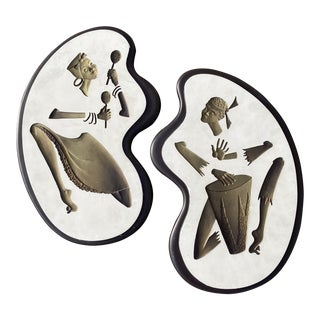 Decorative Amoeba Shape Plaster Plaques - a Pair For Sale