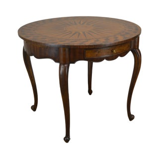 "Theodore Alexander Sunburst Marquetry Inlaid 37"" Round Accent Table For Sale"