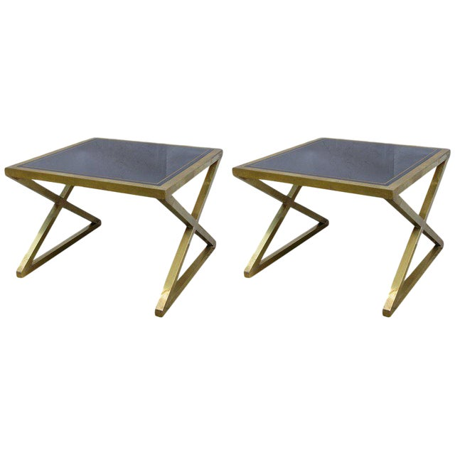 Italian Modern X-Frame Handcrafted Bronze and Black Low Coffee Tables - a Pair For Sale