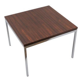 Florence Knoll 1950s Rosewood and Chrome Side Table For Sale