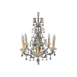 Multicolor & Antiqued Gold Chandelier by Schonbek For Sale