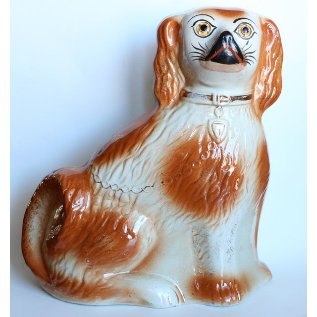 English Traditional Antique Staffordshire Mantel Dogs - a Pair For Sale - Image 3 of 10
