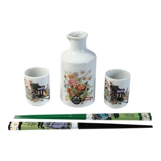 Sake & Chop Sticks - 5 Pieces For Sale