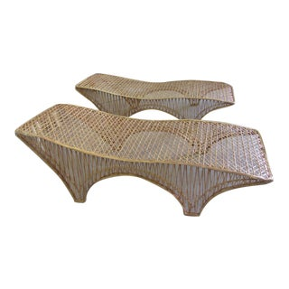Russell Woodard Web Spun Chaises - a Pair For Sale