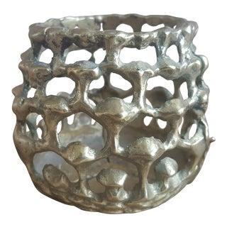 Mid Century Brutalist Brass Candle Holder
