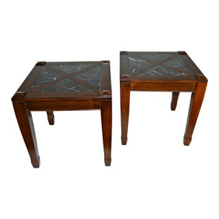 Vintage Solid Wood Side Tables W/ Marble Top - Pair For Sale