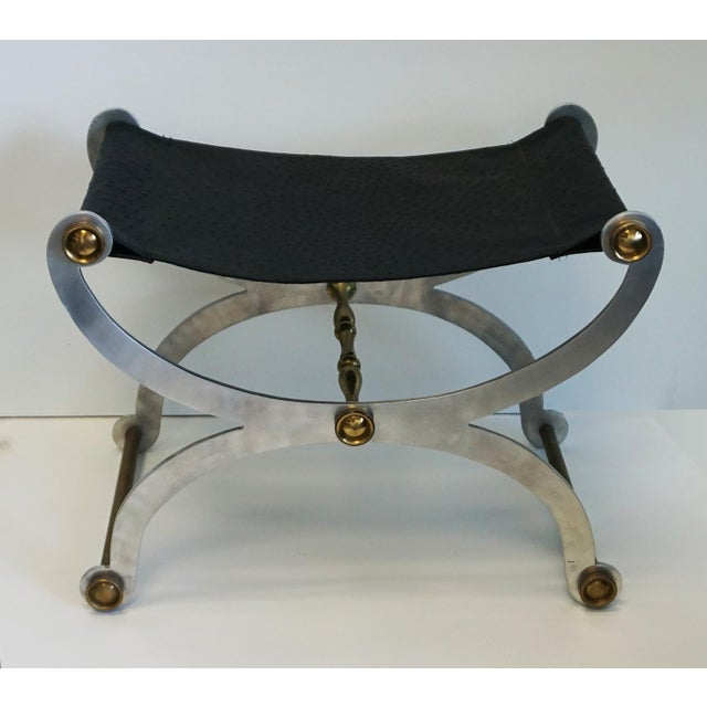 Metal Maison Jansen Style Faux Ostrich Stool $1,250 For Sale - Image 7 of 7