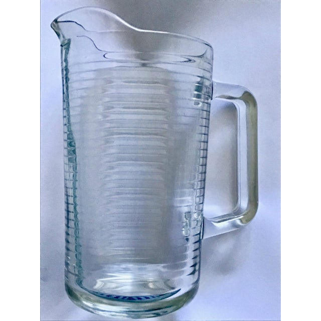 Mid-Century Modern Mid Century Vintage Ribbed Glass Pitcher For Sale - Image 3 of 3