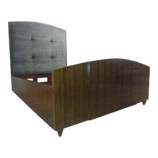 Henredon Furniture Reference by Patrick Aubriot Rosewood King Upholstered Panel Bed For Sale