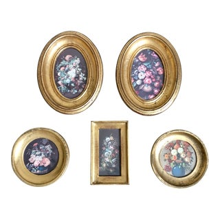 Vintage Florentine Gilt Framed Floral Prints- Set of 5 For Sale