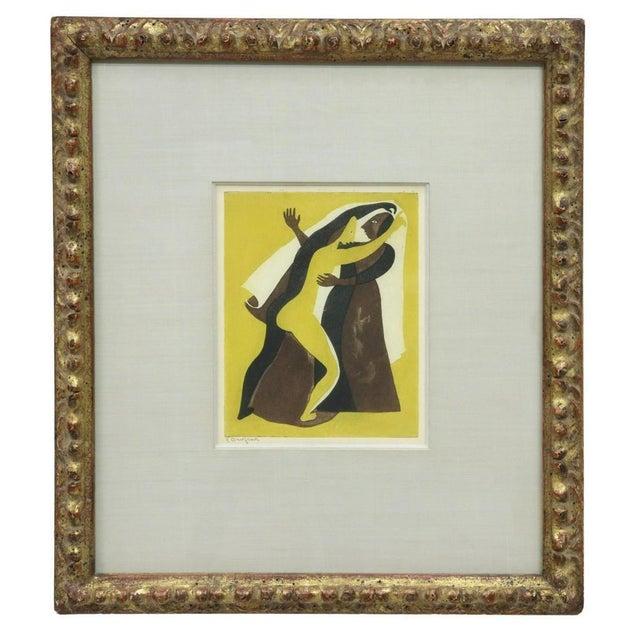 "Wood Original Carlos Orozco Romero ""Two Figures Dancing"" Aquatint Framed For Sale - Image 7 of 7"