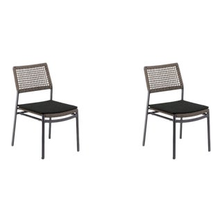 Outdoor Side Chair, Carbon and Mocha with Pepper Pad (Set of 2) For Sale