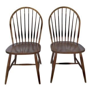 1990s Americana Ethan Allen Classic Windsor Chairs - a Pair