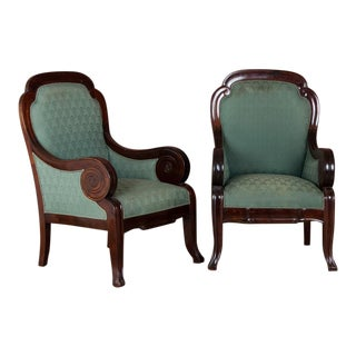 Antique Mahogany Library Arm Chairs- A Pair For Sale