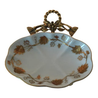 Hollywood Regency Goldtone & China Soap Dish