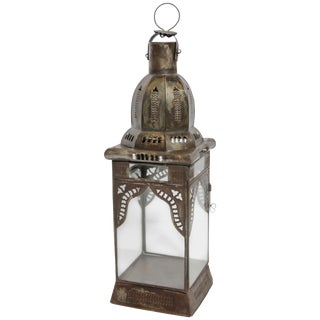 Moroccan Moorish Square Metal and Clear Glass Candle Lantern For Sale
